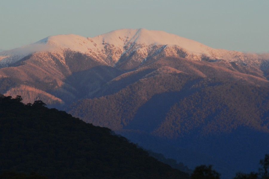 Spectacular snow capped Mt Feathertop at sunset